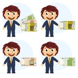 Man in suit and money in hand Royalty Free Stock Images