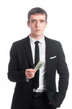 Man in suit with money stock image