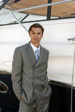 Man in a suit near the yacht Royalty Free Stock Photos