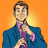 Man in a suit and pink shirt dude. A man in a suit and pink shirt. Dude going on a date or at work stock illustration