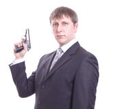 The man in a suit with a pistol Stock Images