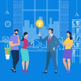 Business Training or Sharing Idea with Employees. Man in Suit Point on Light Bulb on Blue Background with Outline Office Interior. Business Training or Sharing royalty free illustration