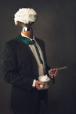 Man in suit with Razor, Bristle and shaving bowl Stock Photography