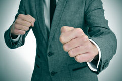 Man in suit ready to fight Royalty Free Stock Photos