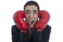 Man in suit with red boxing gloves with his hands on each side of his face shouting Stock Photos