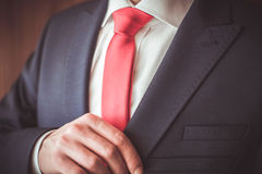 A man in a suit. With a red tie Royalty Free Stock Photography