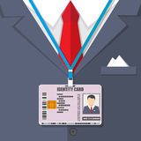 Man suit with red tie and id badge. Vector illustration in flat style Royalty Free Stock Photography