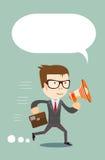 Man in suit shouting through a loudspeaker. Stock Photos