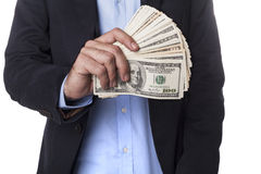 Man in Suit Showing Dollars Stock Photos