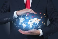 Man in suit showing global business infographics royalty free stock photography