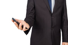 Man suit smartphone Stock Images