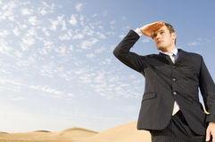 A man in a suit standing in a desert Royalty Free Stock Photo