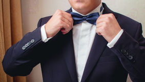 Man in the suit straightens bow tie Stock Photography
