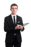 Man in suit with tablet stock photography