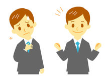 Man in suit, tired, cheer up. Man in suit, working, tired and cheer up stock illustration