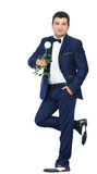 Man in suit with white rose Stock Photo