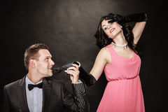 Man in suit and woman in evening dress. Royalty Free Stock Photo