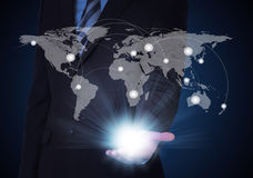 Man in suit, world map and contacts. The concept of global contacts Stock Photos