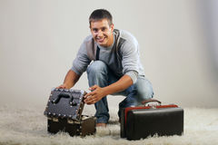 A man and a suitcase. Stock Photo