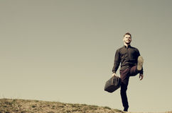 Man with a suitcase Royalty Free Stock Photos