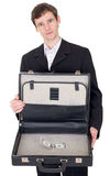 Man with suitcase containing dollar Royalty Free Stock Image