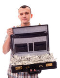 Man with suitcase full of money Stock Photos