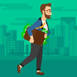 Man with suitcase full of money. Royalty Free Stock Images