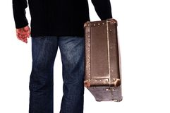 Man with suitcase in hand Stock Photos