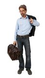 Man with a suitcase isolated Royalty Free Stock Photos