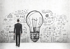 Man with suitcase looking at large bulb icon. Rear view of a businessman holding a suitcase and looking at a large light bulb sketch surrounded by business icons royalty free stock images
