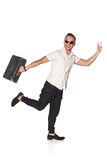 Man with suitcase running Royalty Free Stock Photo