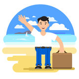 Man with a suitcase on a tourist vector illustration