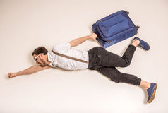 Man with suitcase Stock Image