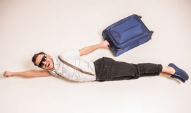Man with suitcase Royalty Free Stock Image