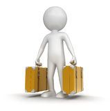 Man with Suitcases (clipping path included) Royalty Free Stock Images