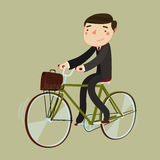 Man in suite and with briefcase riding a bicycle. vector illustration Royalty Free Stock Photography