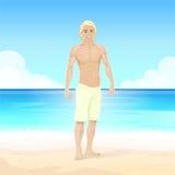Man Summer Beach, Muscular Body Sexy Guy Royalty Free Stock Photos