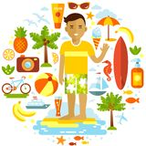Man and summer beach vacation elements set in flat. Smiling man on the background with summer beach vacation elements Royalty Free Stock Photography