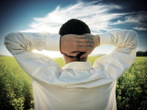 Man in the Summer Field Royalty Free Stock Photo