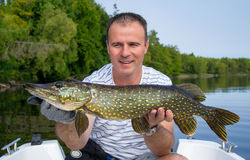 Man with summer pike Stock Image