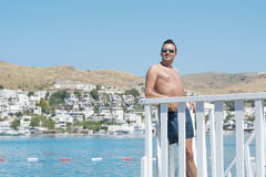 Man on summer vacation enjoying the sea view in Bodrum ,Turkey Royalty Free Stock Image
