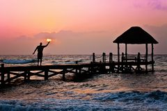 Man, Sun, Holding, Ocean, Peer Stock Image