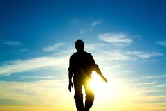 The man and the sun Royalty Free Stock Photography