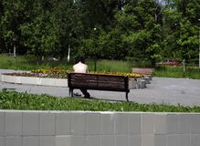 A man sunbathes in the sun sitting on the bench . royalty free stock image