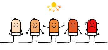 Man & sunbathing. Hand drawn characters Royalty Free Stock Photography
