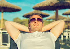 Man sunbathing. Stock Photography