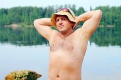 Man sunbathing Stock Image