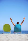 Man on sunbed Royalty Free Stock Photo