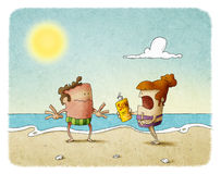Man sunburn. Woman scolding man who has not used sunscreen Royalty Free Stock Images