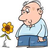 Man with sunflower cartoon illustration Royalty Free Stock Photos